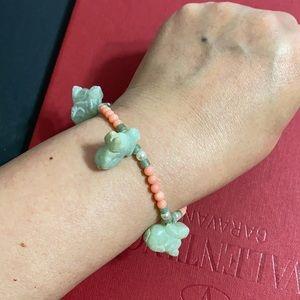 🖤Jade Rabbit 🐇 Coral Pearl bracelet